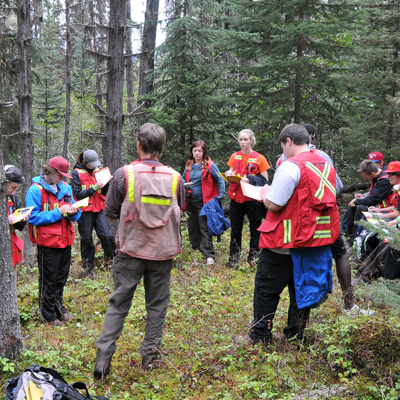 Students are in a forest for an outdoor classroom as part of a mining education experience.