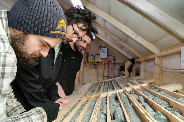Analyzing kimberlite drill core at Bob Camp, Kennady North Project, Kennady Diamonds Inc.