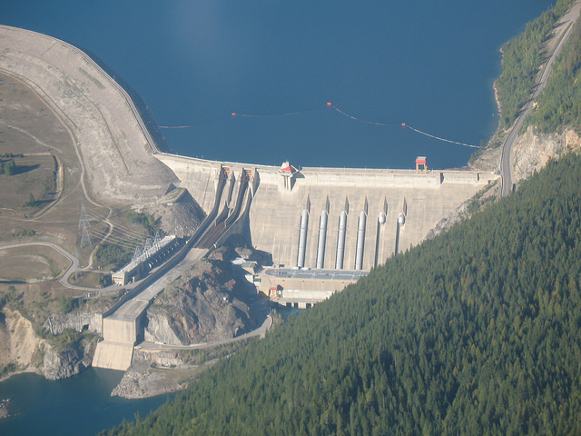 An aerial photograph of the Revelstoke Dam