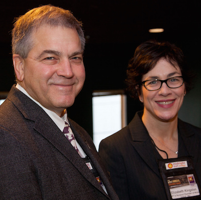 Tom Hoefer, executive director of the NWT and Nunavut Chamber of Mines standing with Elizabeth Kingston, general manager of the Nunavut office of the NWT and Nunavut Chamber of Mines.