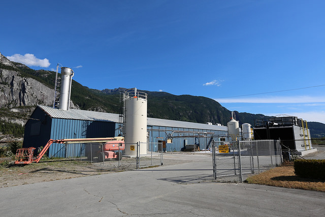 Carbon Engineering's demonstration plant site, in Squamish, BC. The plant is capable of capturing 1 ton of CO2 from the atmosphere each day.