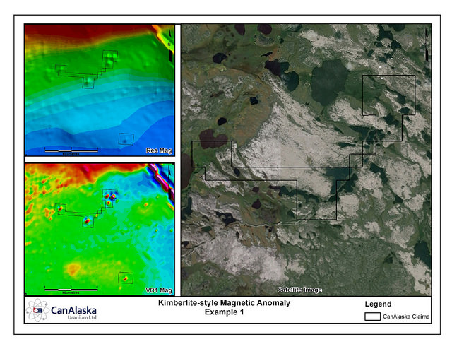 Image showing where Saskatchewan geologists have surveyed the land and where CanAlaska found the kimberlite field.