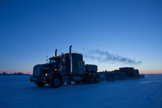 Road deliveries to the mine's remote northern location require safe ice roads.