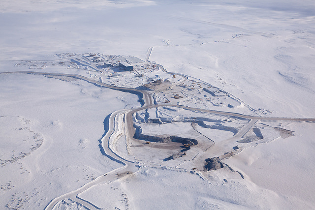 Aerial view of Gahcho Kué mine site in the snow.