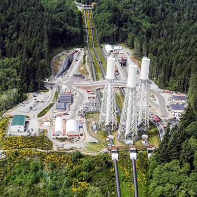 An aerial photo of the John Hart Generating Station.