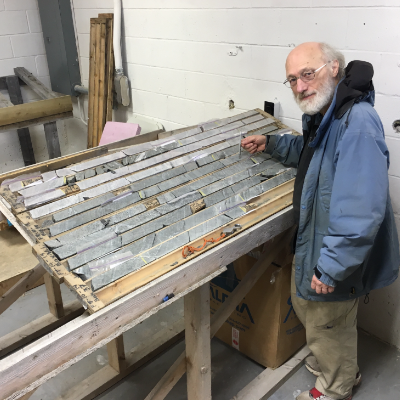 Randy Miller examines core in a core logging room at St. Lewis, on the southeastern Labrador coast.