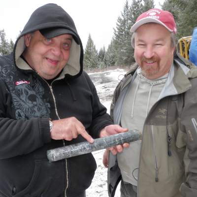 (L to R) Brian Testo and Michael Dufresne of Grizzly Discoveries explore the Robocop project near Roosville, B.C.