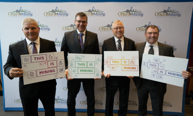 (L to R) Chris Hodgson, president of the Ontario Mining Association; Marc Lauzier, mine general manager for Newmont Goldcorp's Porcupine Gold Mine; Duncan Middlemiss, president and CEO of Wesdome Mines; and Mike McCann, head of mining and milling for North Atlantic Operations.