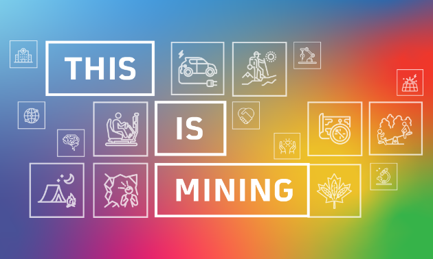 "A bright sign with various colours says ""This is Mining."""