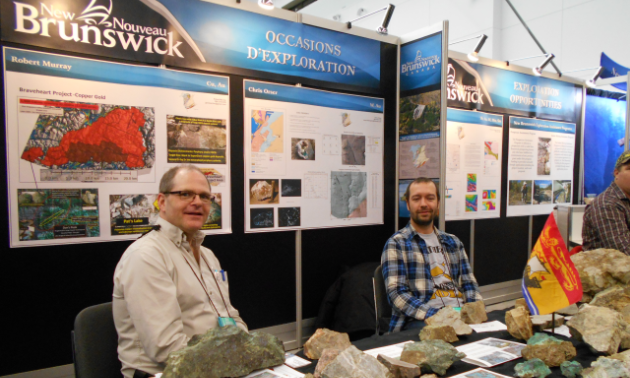New Brunswick prospectors Robert Murray (L), and Chris Orser (R) share details about their rock and mineral samples.