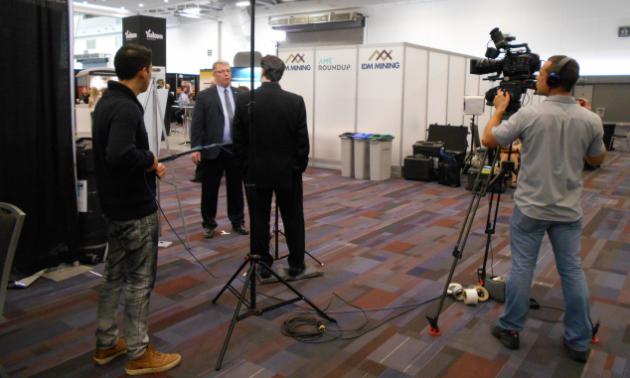 Press members conducting interviews