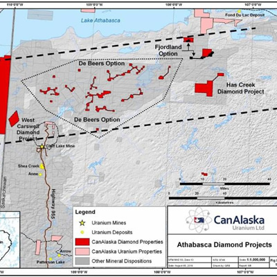 Map of the Athabasca Diamond Projects.
