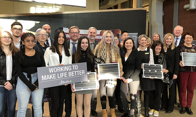 Minister Phillips, Minister Eggen, MLA Annie McKitrick and MLA Chris Nielsen join students and faculty from Archbishop O'Leary High School to announce a new solar program for schools.