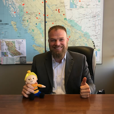 Alec Morrison, President & CEO of the Mining Suppliers Association of B.C. (MSABC), with Buddy the Miner, from the Mining for Miracles campaign for BC Children's Hospital.  MSABC has raised over $325,000 for Mining for Miracles since 1998.
