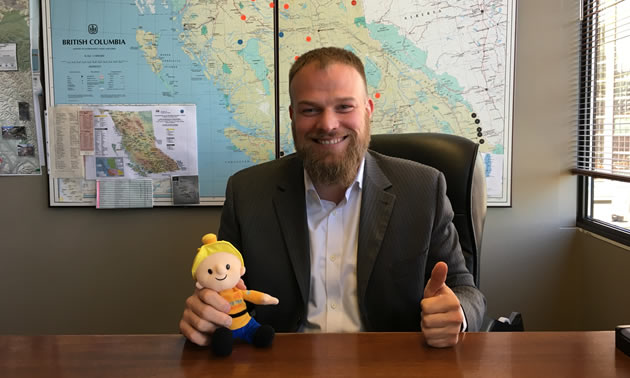 Alec Morrison, president and CEO of the Mining Suppliers Association of B.C. (MSABC), is holding Buddy the Miner, from the Mining for Miracles campaign for BC Children's Hospital.  MSABC has raised over $325,000 for Mining for Miracles since 1998.