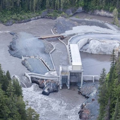 Aerial view of the Northwest British Columbia Hydro Electric facilities.
