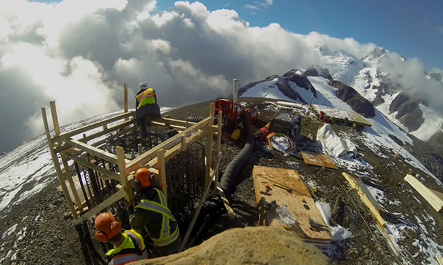 The team of Axis Mountain Technical specializes in working in challenging locations, such as this mountaintop.