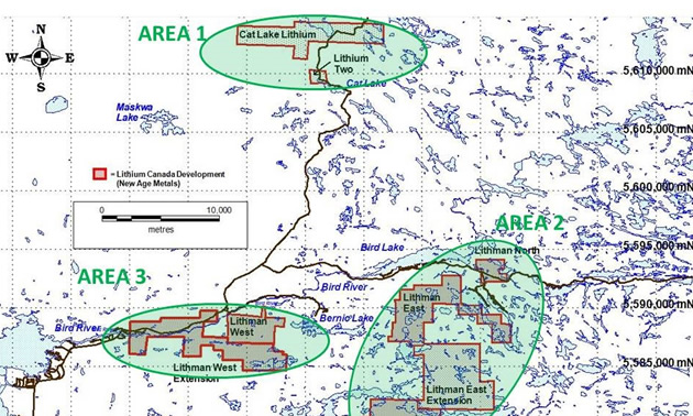 Project areas under new Exploration Agreement with the Sagkeeng Nation.