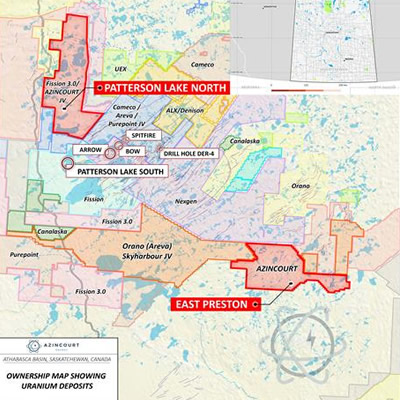 Graphic map showing project location in Western Athabasca Basin, Saskatchewan, Canada.