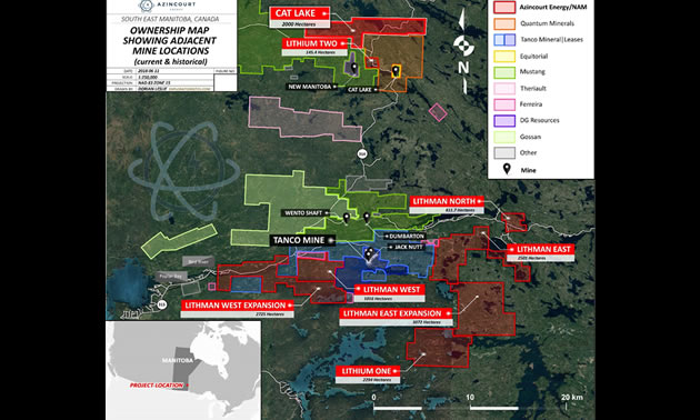 Graphic map showing Lithium Two project properties.