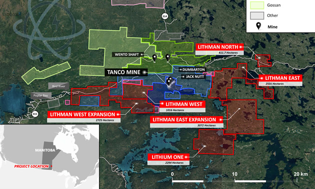 Project Location Map – Winnipeg River Pegmatite Field. Lithium One is the southernmost land package.