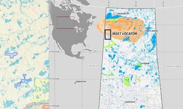 Map detailing the location of the East Preston uranium project in northern Saskatchewan.
