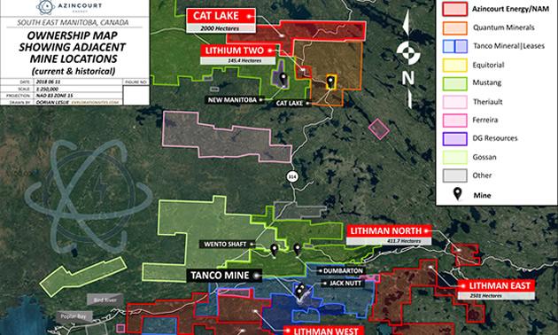 Project Locator - Azincourt/New Age Lithium Portfolio, SE Manitoba, Canada