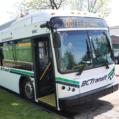 A 100% electric bus, owned by BC Transit.