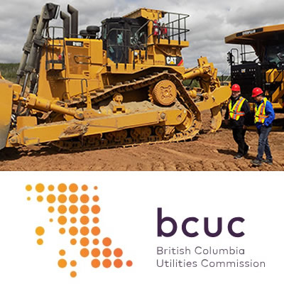 Picture of construction equipment and logo of BCUC.