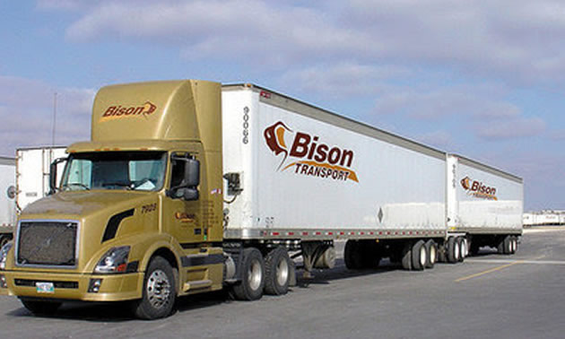 64 tonne B-train tractor trailer operated by Bison Transport.