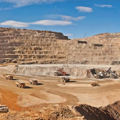 View of gold mining equipment in quarry.