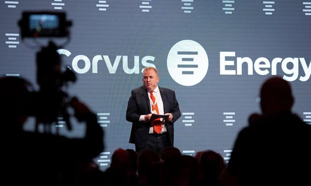 Geir Bjørkeli, CEO of Corvus Energy, addresses the 450 guests at the opening ceremonies of the new Corvus battery factory in Bergen, Norway.