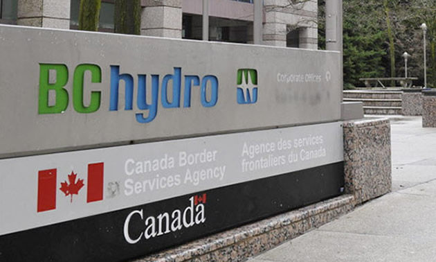 BC Hydro sign outside of office.
