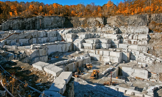 One of Polycor's white marble quarries called Bethel White Star.