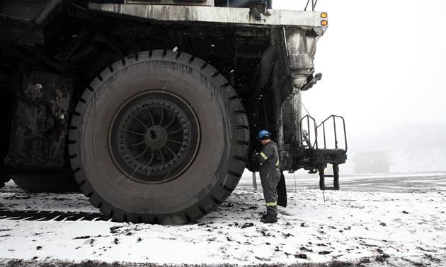 Giant tires on mining truck.