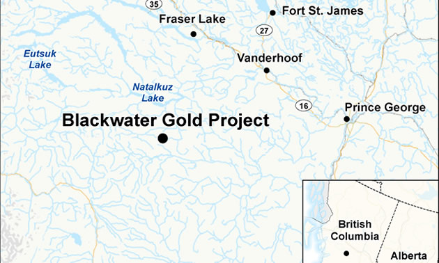 Map depicting the location of the proposed Blackwater Gold Project.
