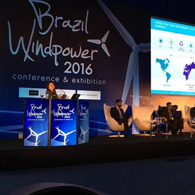 View of stage at Brazil Windpower event.