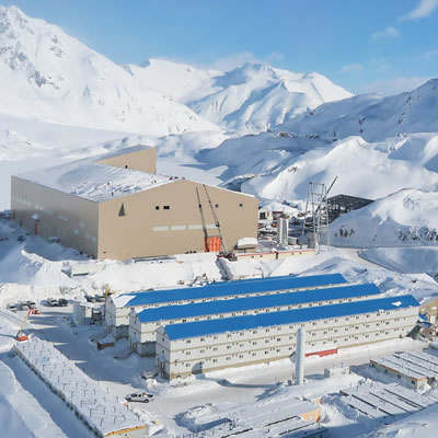 Aerial view of Brucejack Mine in winter.