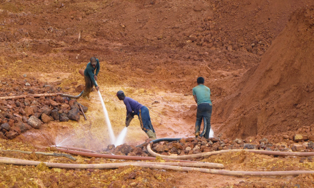 Guyanese small-scale miners at work