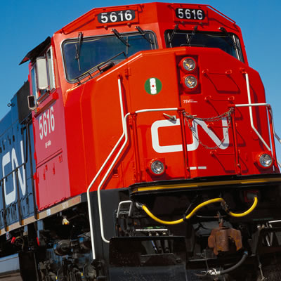 Close-up picture of CN Rail engine.