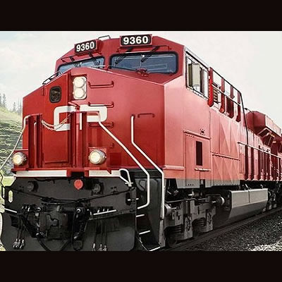 Close-up picture of CP rail train.