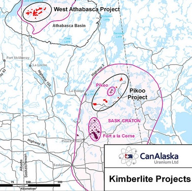 CanAlaska's diamond claims in the western Athabasca Basin are shown on a map.