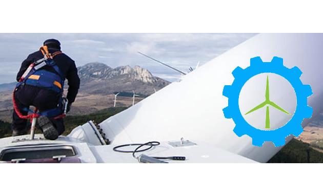 Worker on top of wind turbine.