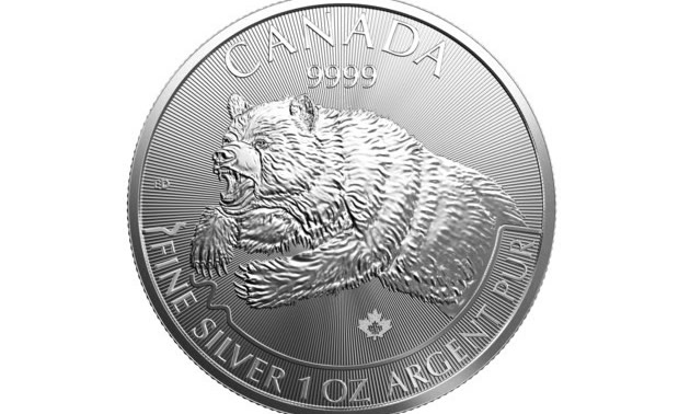 Close-up of front of coin showing grizzly bear engraving.
