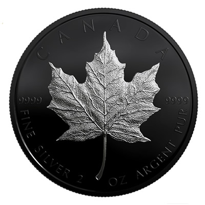 The Royal Canadian Mint's limited edition Silver Maple Leaf coin with black rhodium plating.