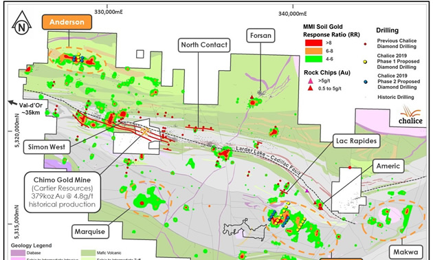 Planned 2019 DDH collars over MMI gold-in-soil and interpreted geology.