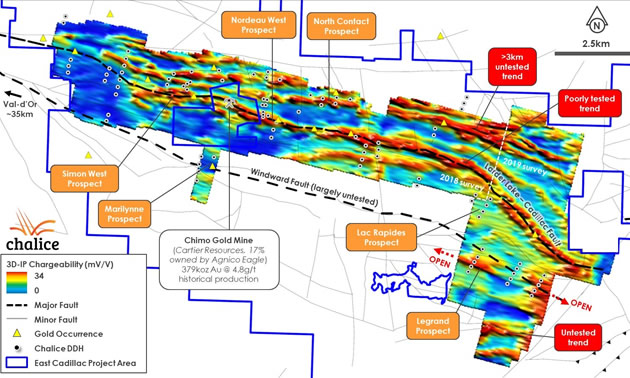 3D-IP chargeability iso-surface, prospects and Chalice drilling to date.