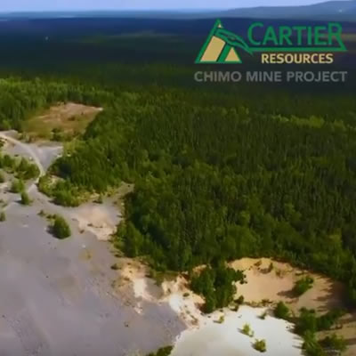 An aerial view of the Chimo Mine in Quebec.