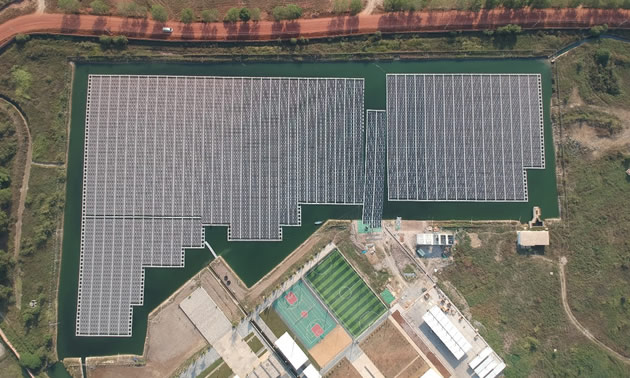An aerial view of A 2.8 MWp floating solar plant in Cambodia.