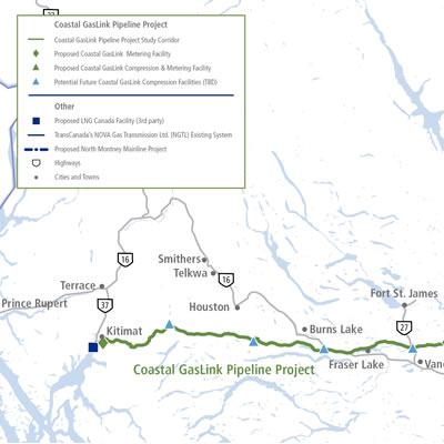 Map of Coastal GasLink Pipeline Project.